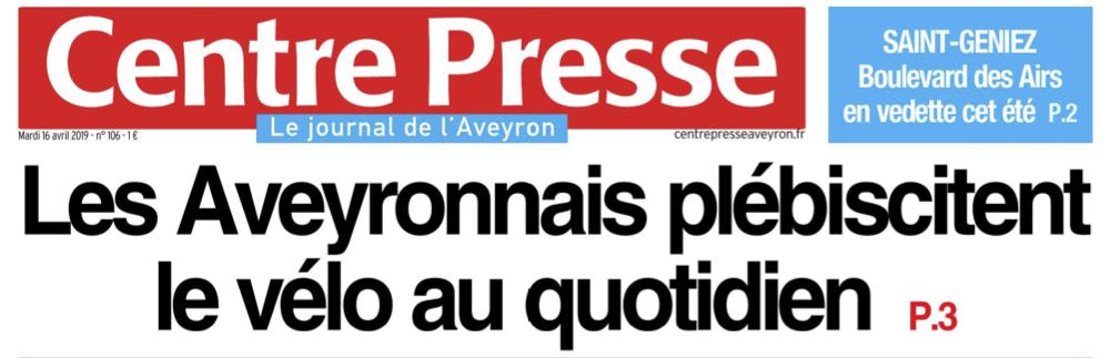 Les Aveyronnais plébiscitent le vélo au quotidien -Une-CP-160419